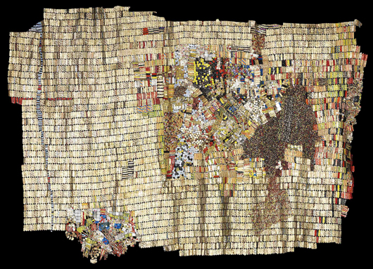 New World Map — one of Ghanaian contemporary artist El Anatsui's wall hangings made from aluminium bottle caps, which is estimated at £500,000-800,000 ($813,000-$1.3m) at Bohams' sale of African art on 23 May. Image courtesy of Bonhams.