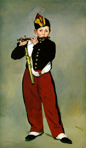 One of Edouard Manet's (French, 1832-1883) most recognizable works is 'Young Flautist' or 'The Fifer,' 1866, held in the collection of Musee d'Orsay in Paris.