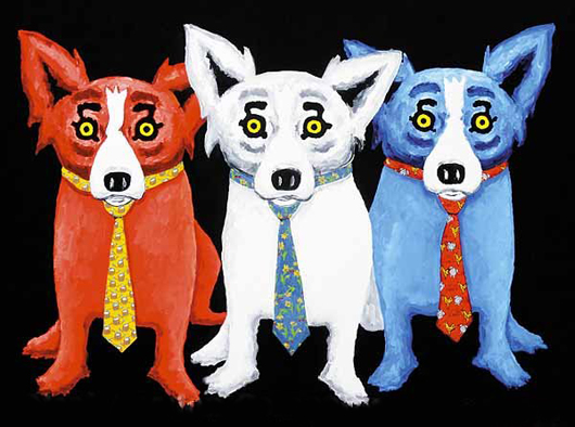 George Rodrigue (American/Louisiana, b. 1944-), 'Corporate Dog,' 1994 oil on canvas, sold by Neal Auction Co. for $54,000 + buyer's premium on May 3, 2008. Image courtesy of LiveAuctioneers.com Archive and Neal Auction Co.