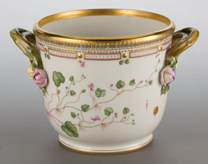 Wine coolers were also made in European and Chinese Export porcelain. This Royal Copenhagen example in the Flora Danica pattern, 1969-1974, sold for $1300 last December. Courtesy Heritage Auctions