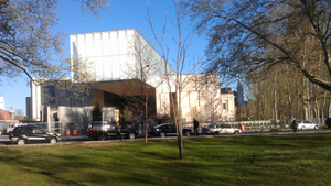 The new Barnes Foundation, Logan Square, Philadelphia, looking east from the grounds of the neighboring Rodin Museum. Photo taken April 2, 2012 by TypoBoy. Image licensed under the Creative Commons Attribution-Share Alike 3.0 Unported license.