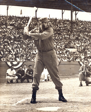 Photograph of Fidel Castro playing baseball, 10 inches x 8 inches. Originally owned by Argentina Estevez. Kaminski's image.