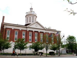 The Jefferson County courthouse in Madison, Ind. This photo was taken before the 2009 fire that heavily damaged the building. Image courtesy Wikimedia Commons.
