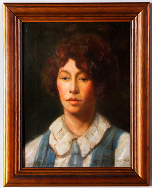 Portrait of a young woman wearing a blue jumper, oil on canvas, signed 'Grant Wood – 1923,' lower right, in original frame. Image courtesy Kaminski Auctions.