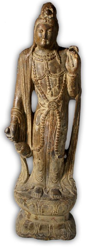 Sui-Tang Dynasty carved red sandstone Guanyin figure. Image courtesy Showplace Antique + Design Center.