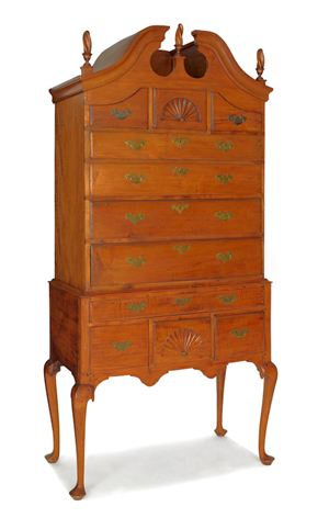 New England Queen Anne bonnet top maple highboy, circa 1760, 81 1/2 inches high. Image courtesy Pook & Pook Inc.