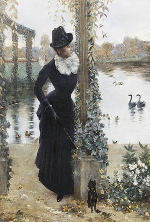 Norbert Goeneutte (French, 1854-1894), 'Jeune Femme au Petit Chien Noir,' oil on canvas, 29 3/4 x 19 1/2 inches. Estimate: $10,000-$15,000. Image courtesy New Orleans Auction Galleries.