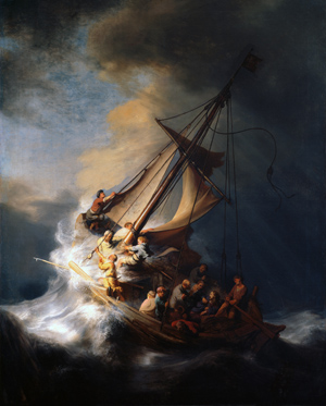 One of the paintings stolen from the Isabella Stewart Gardner Museum in 1990 was Rembrant's 'Christ in the Storm on the Lake of Galilee (Matthew 8:23-25).' Image courtesy Wikimedia Commons.