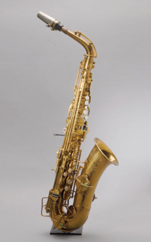 The E-flat alto saxophone, once owned by jazz great Charlie Parker, is a Buescher Aristocrat, made in Elkhart, Ind., in the 1930s. Image courtesy Michaan's Auctions.