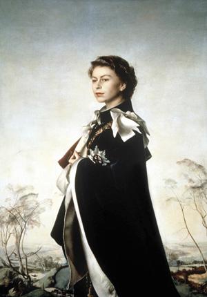 'Queen Elizabeth II, Queen Regent' by Pietro Annigoni, 1954-5. Copyright The Fishmongers' Co.