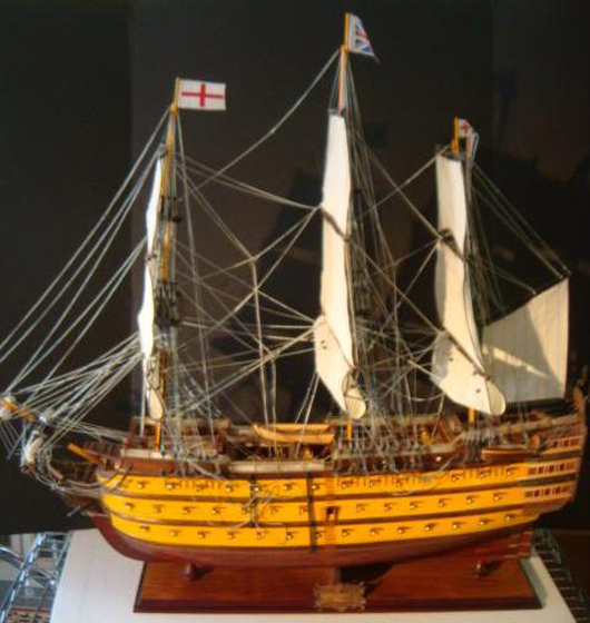Wooden ship model, HMS Victory, Lord Nelson's flagship at the Battle of Trafalgar, 1805, fully rigged, plank construction, 32 x 36 x 12 inches. Estimate: $400-$800. Image courtesy Phoebus Auction Gallery.
