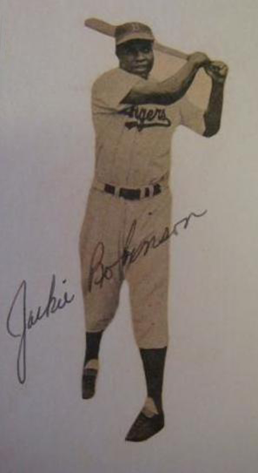 Jackie Robinson autographed picture card, 3 x 5 inches, $500-$750. Image courtesy Phoebus Auction Gallery.