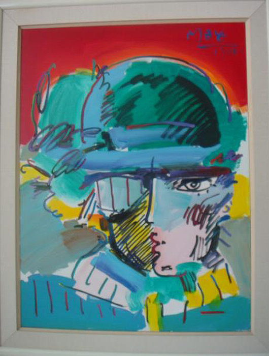 Peter Max, 'Zero Man Revealed,' acrylic on canvas, culmination of the Peter Max Zero Man Series, 48 x 36 inches, signed upper right 'Peter Max 1988,' dedication on verso with additional line drawing of woman. Estimate: $40,000-$60,000. Image courtesy Phoebus Auction Gallery.