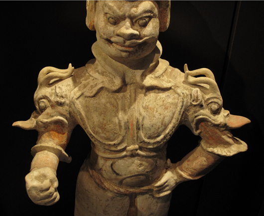 Chinese pottery figure of a lokapala guardian, Tianwang, Tang Dynasty, 35.3 inches high. Estimate: $4,000-$6,000. Image courtesy Joyce Gallery Auction.