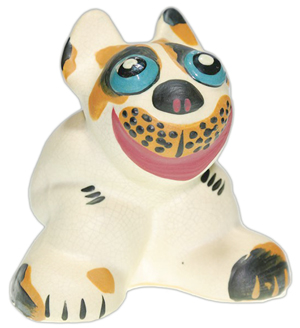 This pop-eyed dog made by Weller Pottery is only 4 inches high. It sold for $360 at a 2011 Humler & Nolan auction in Cincinnati.