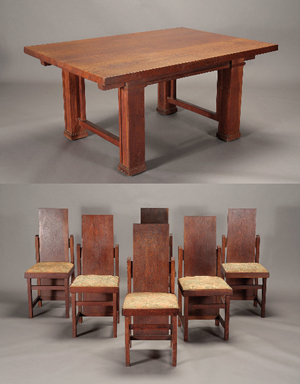 Frank Lloyd Wright dining set, six chairs and a table, table with two leaves. Estimate: $80,000-$100,000. Image courtesy Michaan's Auctions.