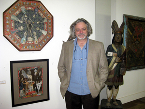 Georg Jevremovic, owner of the Material Culture store and auction gallery in Philadelphia, was particularly pleased with sale results for the work of self-taught artists. At left are two works by artist Felipe Jesus Consalvos (1891-circa 1960): the octagonal 'Do Not Storm the System' sold for $4,000, 'Young America (below) for $2,100.