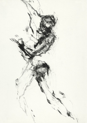 'Tension,' charcoal-on-paper drawing by Isabella Gabriel Niang, signed and dated 2004, 70 x 50 cm, to be auctioned June 2 at Bassenge's Modern Art Spring Auction 99. Image courtesy of Bassenge.