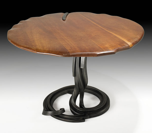 Fine and rare Albert Paley custom dining table, 1981. Estimate: $18,000-$24,000. Image courtesy Rago Arts and Auction Center.
