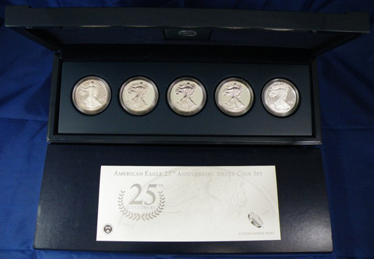 Five-piece American Silver Eagle Anniversary set in a mint cast. Image courtesy Blue Moon Coins.