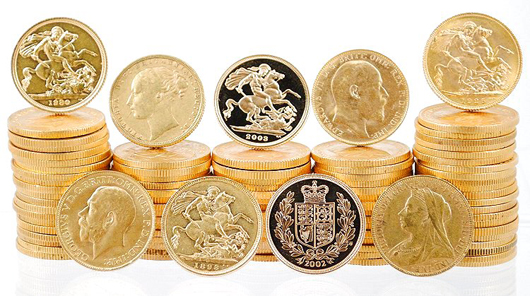 Fifty 20 gold Swiss francs comprise Lot 150. Image courtesy Blue Moon Coins.