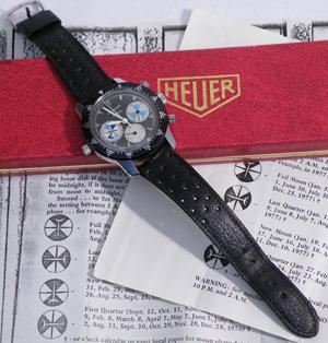 Vintage Heuer Solunagraph watch in original box. Image courtesy Blue Moon Coins.