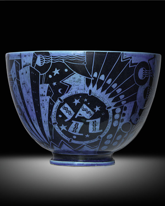 Important Jazz bowl by Viktor Schreckengost for Cowan Pottery, 1929. Estimate: $40,000-$60,000. Image courtesy Rago Arts and Auction Center.