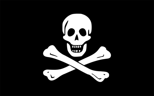 Widely associated with pirates and known as the 'Jolly Roger,' the skull and crossbones flag was first used by Irish-born pirate Edward England. Image licensed under the Creative Commons Attribution-Share Alike 3.0 Unported license.