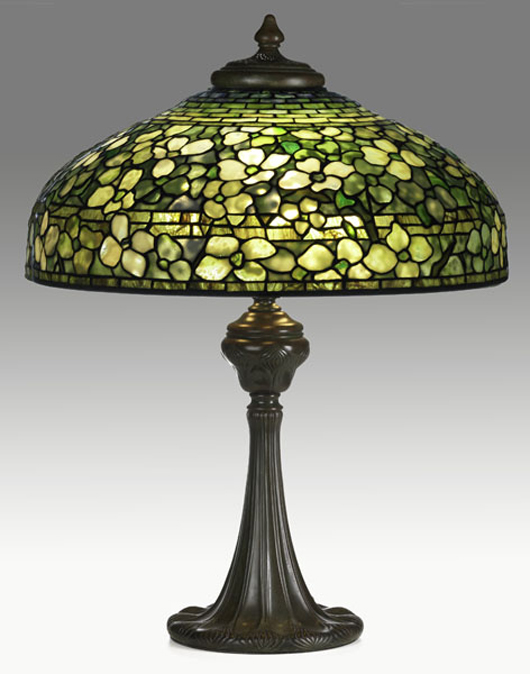 Tiffany Studios table lamp with fine Dogwood shade. Estimate: $95,000-$125,000. Image courtesy Rago Arts and Auction Center.