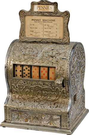 Caille Bros. 'Globe' Poker Hand 5-reel card machine, circa 1906, cast-iron case, sold for $85,000 not including the buyer's premium. Image courtesy Victorian Casino Antiques.