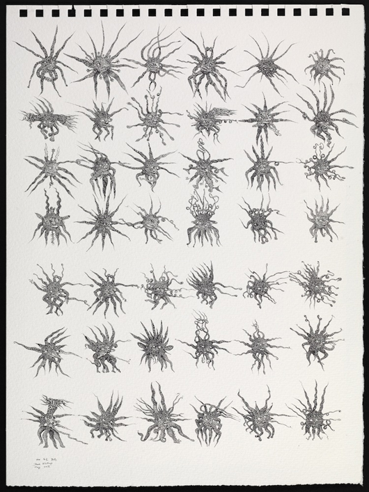 This Rotring pen drawing, entitled 'The 42 blots,' by David Winthrop (born 1948), a former member of rock band Supertramp and also an accomplished draftsman, will be on display at Day and Faber's gallery in Old Bond Street during the Master Drawings London event. Image courtesy Day & Faber.