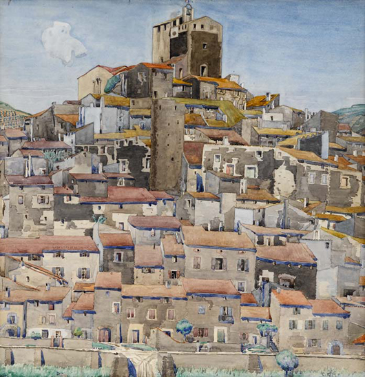 'Boultenère,' a watercolor of 1925-27 by the Glasgow School artist and designer Charles Rennie Mackintosh, which is expected to be a highlight of Lyon & Turnbull's sale of the collection of Donald and Eleanor Taffner in Edinburgh in September, where it is estimated at £80,000-120,000 ($127,000-$190,000). Image courtesy of Lyon & Turnbull.