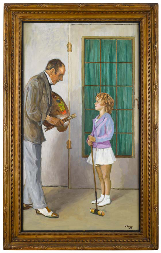 This self-portrait by Sir John Lavery, showing him with the child star Shirley Temple, is estimated at £30,000-50,000 ($47,000-$79,500) when Lyon & Turnbull disperse the collection of Donald and Eleanor Taffner in September. Image courtesy Lyon & Turnbull.