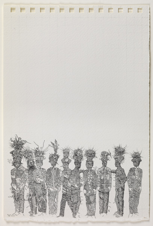 Dave Winthrop's 'Ten Men,' Rotring pen on paper, on exhibition during Master Drawings London at Day & Faber's gallery in Old Bond Street. Image courtesy Day & Faber.