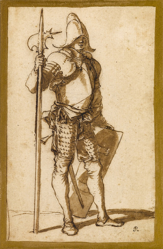 Salvator Rosa (1615-1673), 'A Standing Halberdier,' pen and brown ink and brown wash, over a black chalk underdrawing, laid down on an 18th century (Richardson) mount. On show during Master Drawings London at the St. James gallery of Stephen Onpin. Image courtesy Stephen Ongpin.