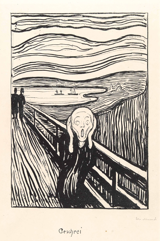 This extremely rare lithograph of Edvard Munch's 'The Scream' from 1895 will be on the stand of Oslo-based dealer Kaare Berntsen at the prestigious Masterpiece fair in London from June 28 to July 4 where it is priced at