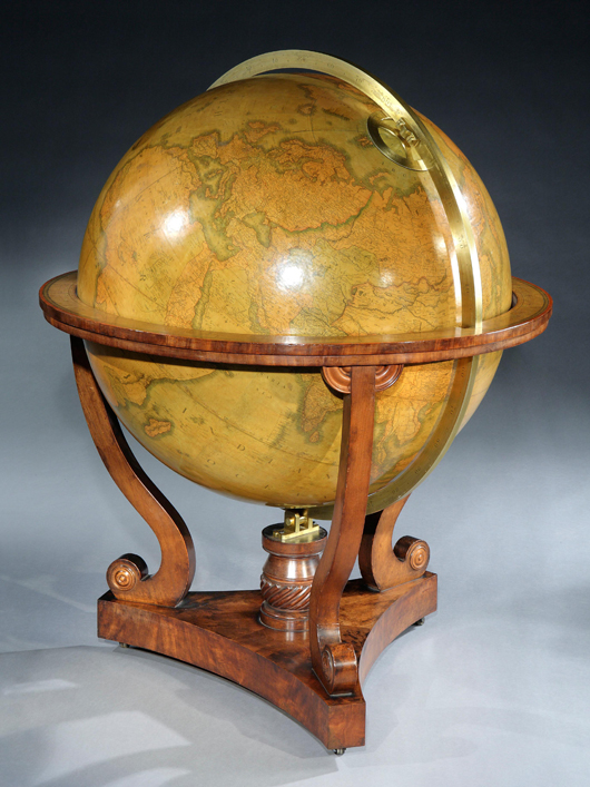 At the Masterpiece fair in London from June 28 to July 4, Butchoff Antiques will offer this only known example of an oversize Cary 'terraqueous' globe that maps the 1839 expedition to the Great Northwestern Passage. Image courtesy Butchoff Antiques and Masterpiece.