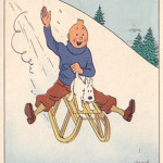 A postcard picturing Tintin and his dog Snowy. Image courtesy LiveAuctioneers.com Archive and Alain & Evelyne, Morel de Westgaver.