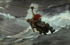 Winslow Homer (American, 1836-1910), 'The Life Line,' 1884. . Oil on canvas, 28 5/8 x 44 3/4 inches (72.7 x 113.7 cm). Philadelphia Museum of Art, The George W. Elkins Collection, 1924.
