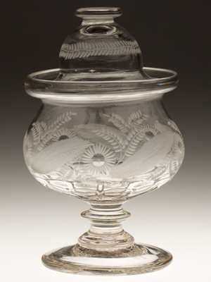 Bakewell pattern-molded and engraved sugar bowl and cover, colorless, circa 1820-1835 (May 19 sale, $8,625, Lot 171). Image courtesy Jeffrey S. Evans & Associates.