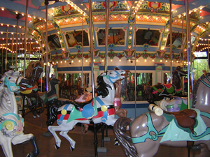 This beautiful carousel at Kennywood amusement park in West Mifflin, Pa., was built by William H. Dentzel in 1926 for the World's Fair. Photo by Larry Pieniazek, dual licensed under GFDL and Creative Commons Attribution 2.5.