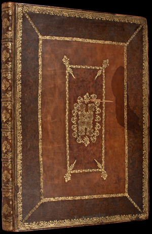 The 'Fasciculus Temporum' manuscript is bound in 17th century paneled calf with gilt tooling. PBA Galleries image.