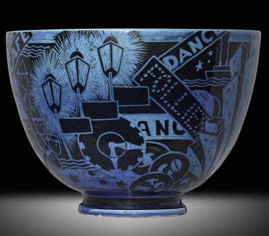 """An excellent example of the """"Jazz"""" punch bowl, made 1929 by Viktor Schreckengost at the Cowan Pottery in Cleveland, will be sold next weekend at Rago Arts in Lambertville, N.J. – estimate $40,000-$60,000. Courtesy Rago Arts and Auction Center"""