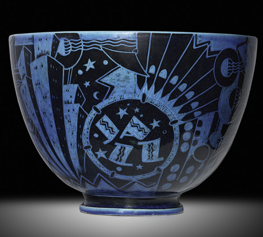 Motifs circling the large bowl evoke the pleasures of nightlife in New York. The sgraffito design was highlighted in black slip and then covered in a transparent Egyptian blue glaze. Courtesy Rago Arts and Auction Center
