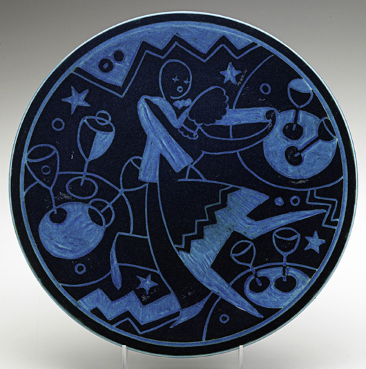 """On the designer's """"Jazz"""" plate or plaque, an animated couple hit the nightclub dance floor. This example brought $17,500 in February; another version sold April 2008 for $66,000. Courtesy Rago Arts and Auction Center"""