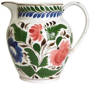 English Staffordshire Gaudy Dutch soft paste porcelain pitcher. Leslie Hindman Auctioneers image.