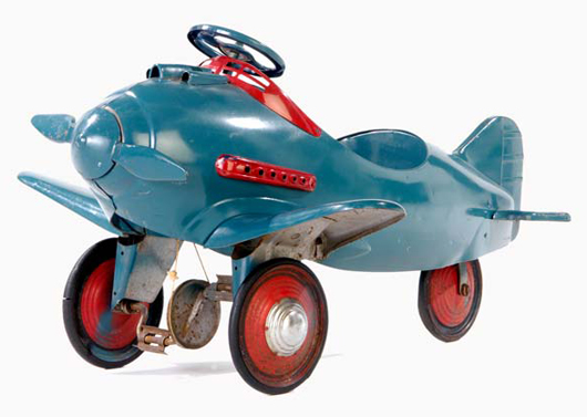 This pedal car in the form of an airplane was part of a series Schreckengost designed in the 1950s for bicycle manufacture Murray Ohio. The delightful toy came up five years ago at Rago's where it sold for $3,360. Courtesy Rago Arts and Auction Center