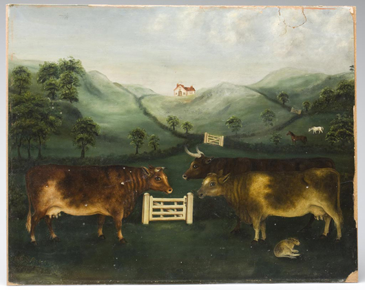 "Folk art o/b painting ""Near House Mountain, 1898"", Rockbridge Co., VA"