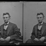 Descended in the family of M.P. Rice, this glass negative from Abraham Lincoln's last studio sitting sold at Cowan's for $35,250. Cowan's Auctions Inc. image.