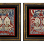 Pair of graphic and colorful kerchiefs from 1904 presidential campaign of Theodore Roosevelt vs. Alton Parker. Image courtesy of Jeff Bridgman.